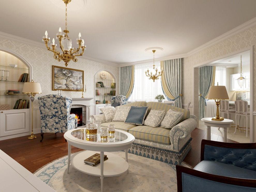 Séjour de style classique de 25 m²
