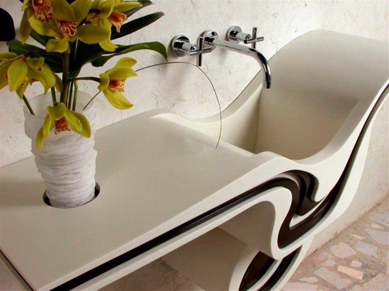 Mặt bàn thiết kế trong phòng tắm