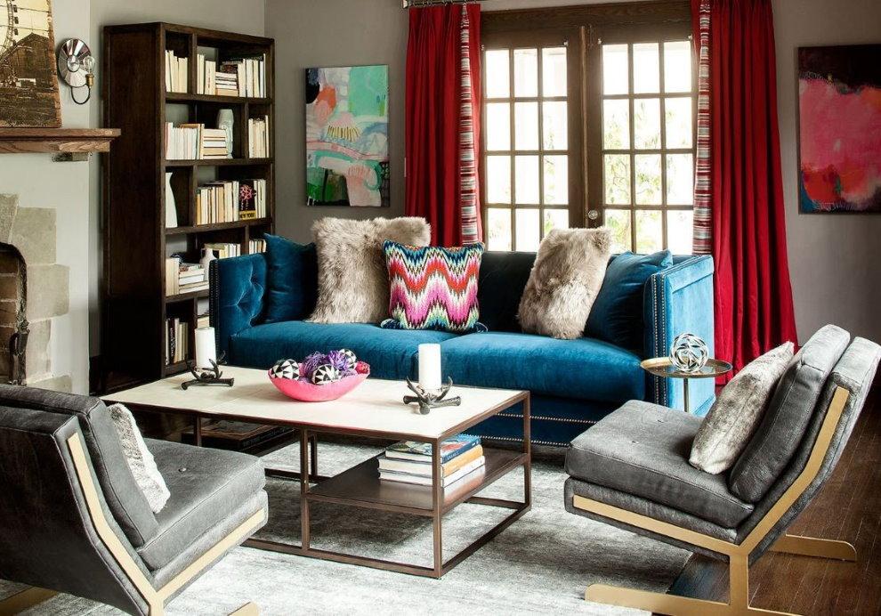 Rèm cửa kết hợp trong phòng khách của một ngôi nhà riêng