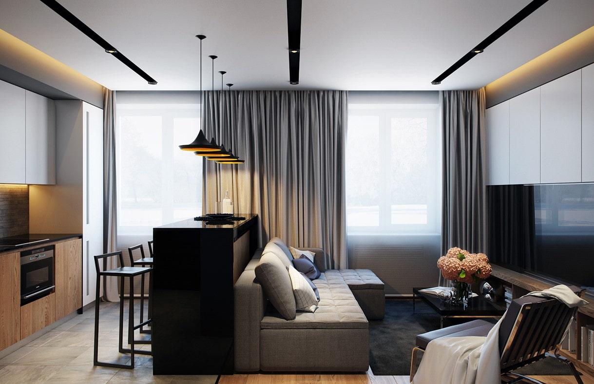 appartement de 35 m² cuisine séjour