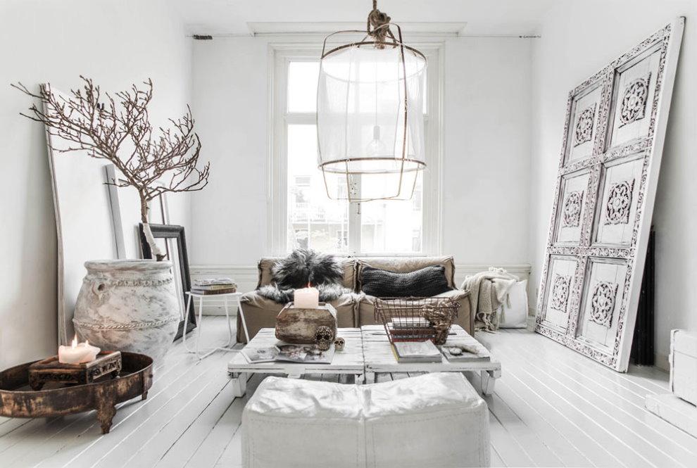 Meubles de salon dans un style d'intérieur mixte