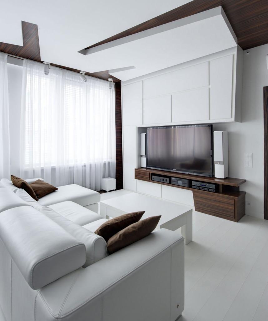 Plafond à plusieurs niveaux minimaliste dans le salon