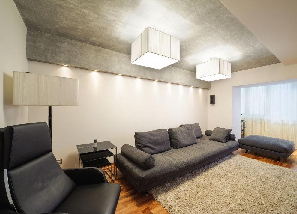 Plafond gris dans un séjour de 25 m²