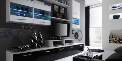 mur TV modulaire dans le salon