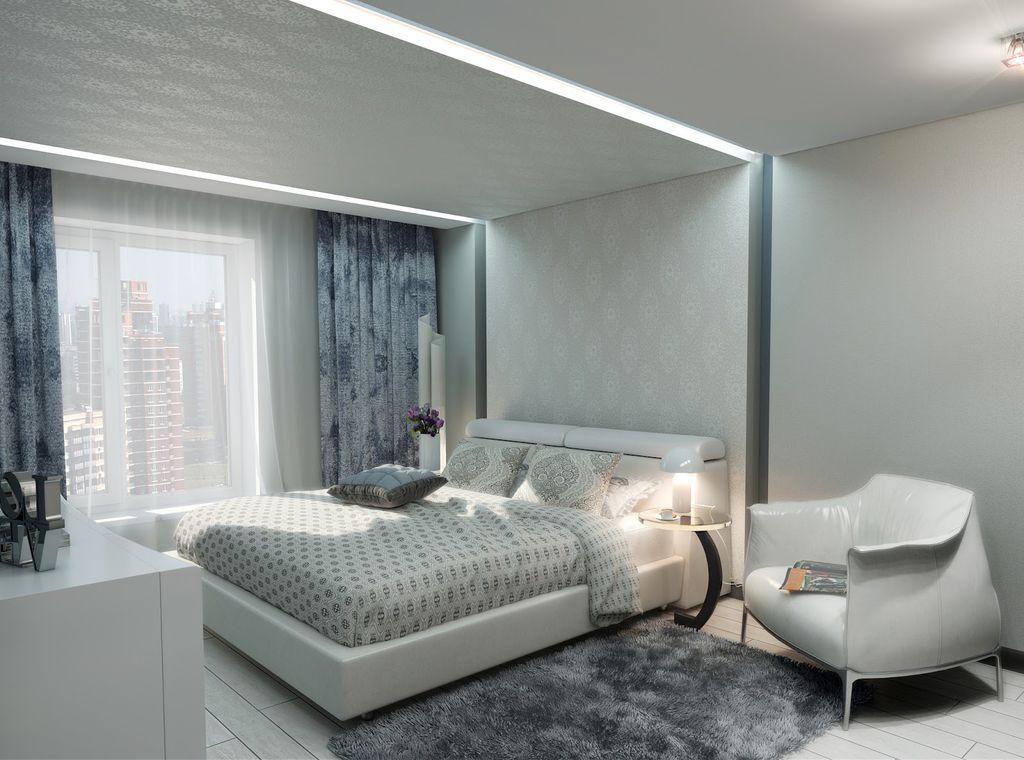 plafonds tendus en tissu dans la chambre