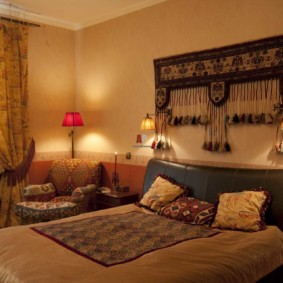 intérieur de la chambre dans la conception de photos de style oriental