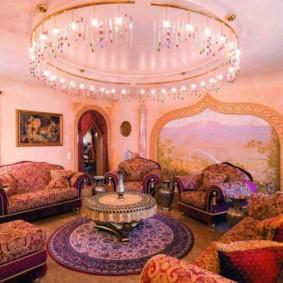 idées de design d'intérieur de salle de style oriental