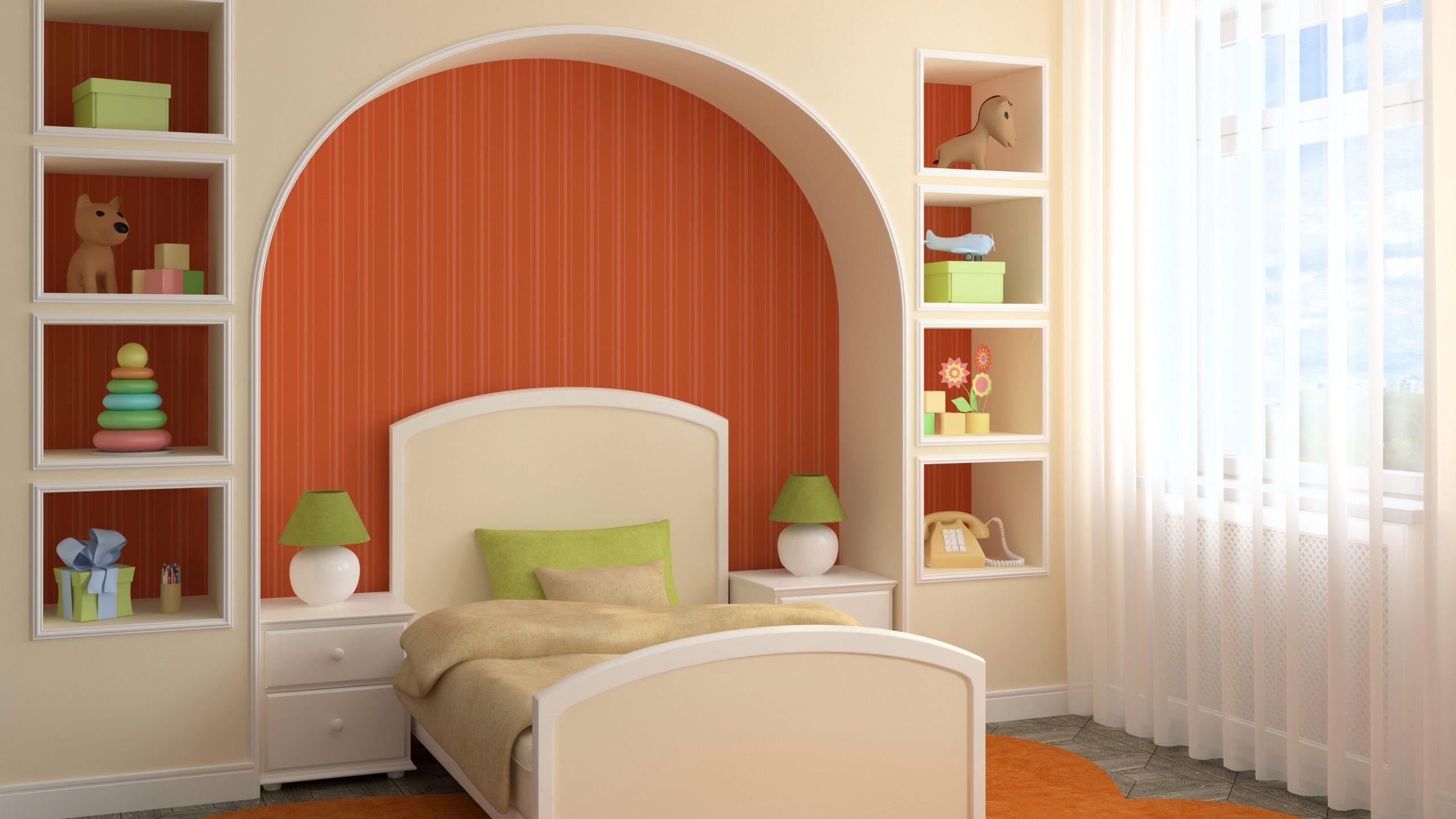 conception de niche de cloison sèche de chambre à coucher