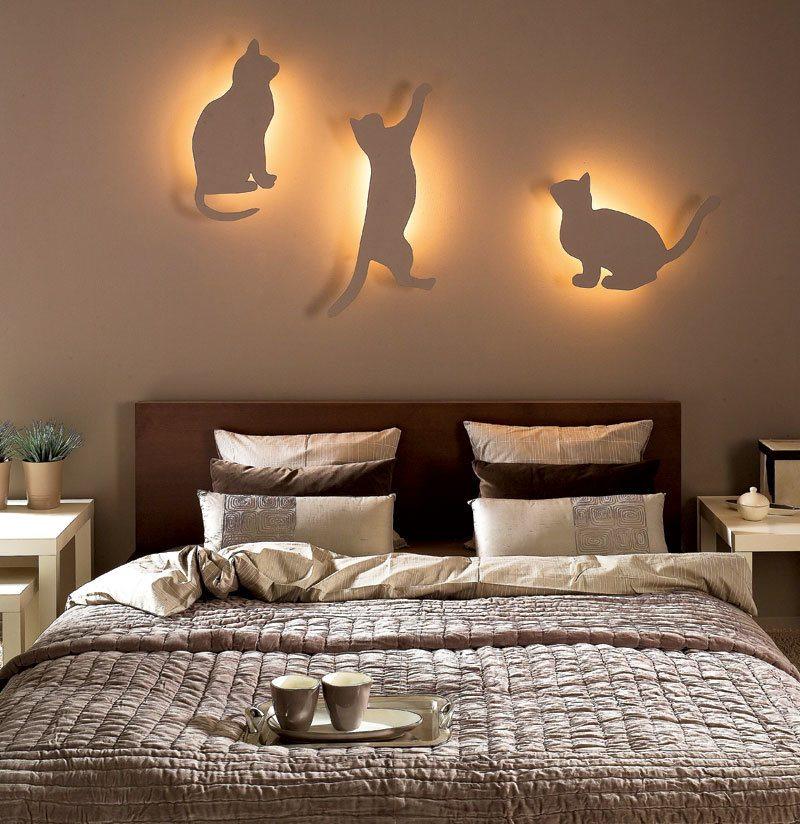 Lampes de chevet chat pour une chambre de style moderne