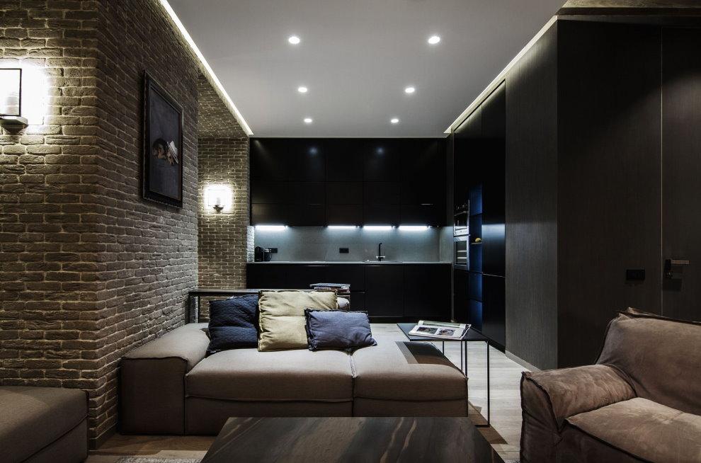 Lumière dans une pièce de style loft avec un plafond tendu