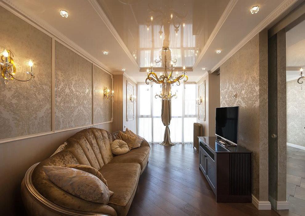 Emplacement des luminaires encastrés au plafond avec un lustre