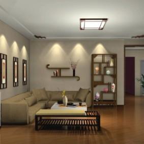 éclairage des pièces dans les options d'idées d'appartement