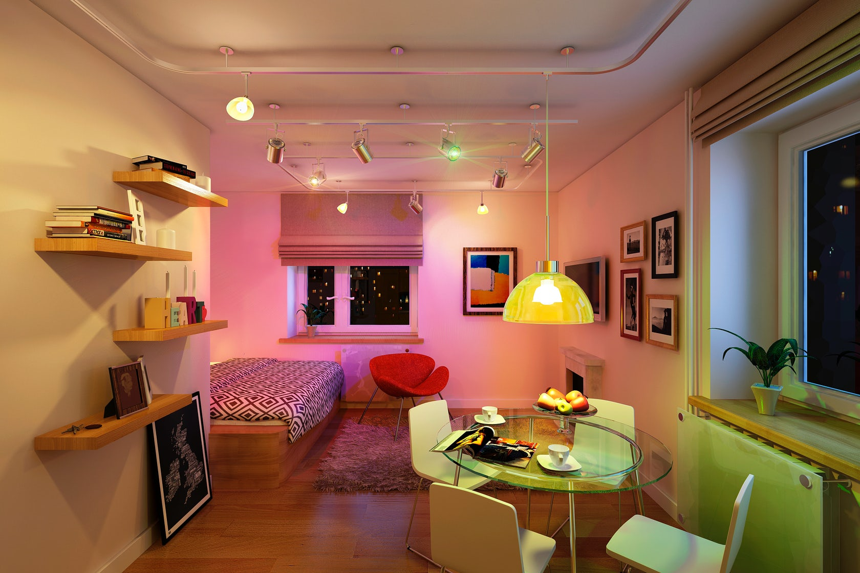 salle d'éclairage dans les options de l'appartement