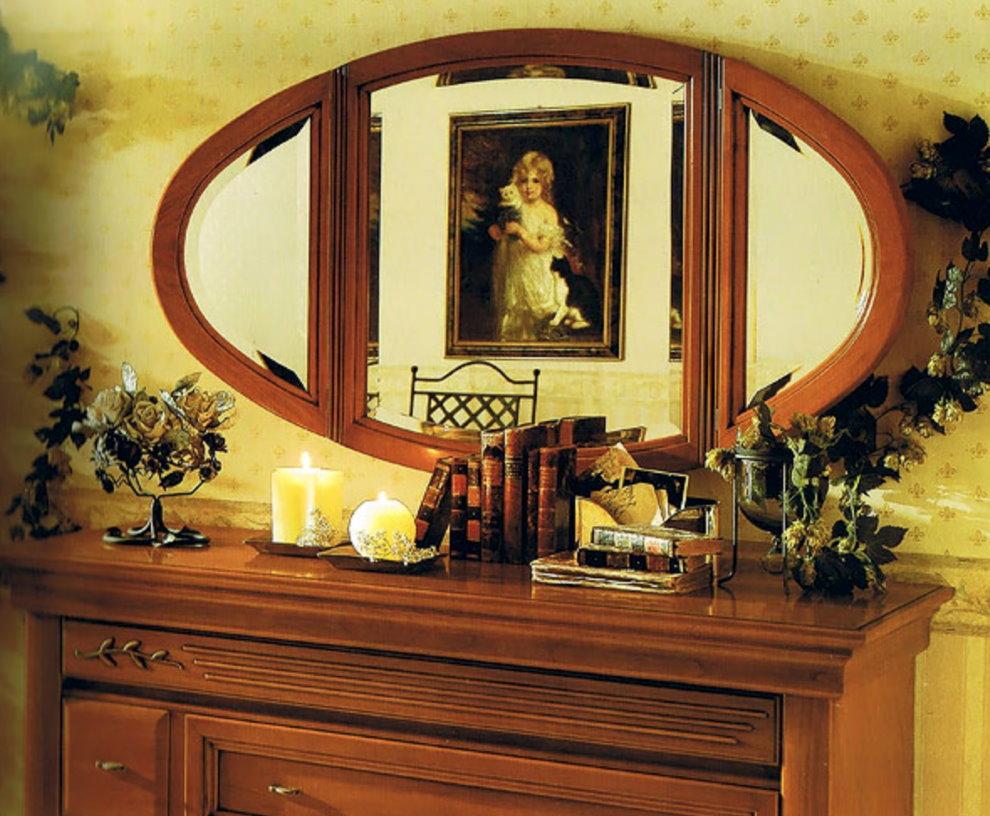 Miroir ovale dans la chambre en feng shui
