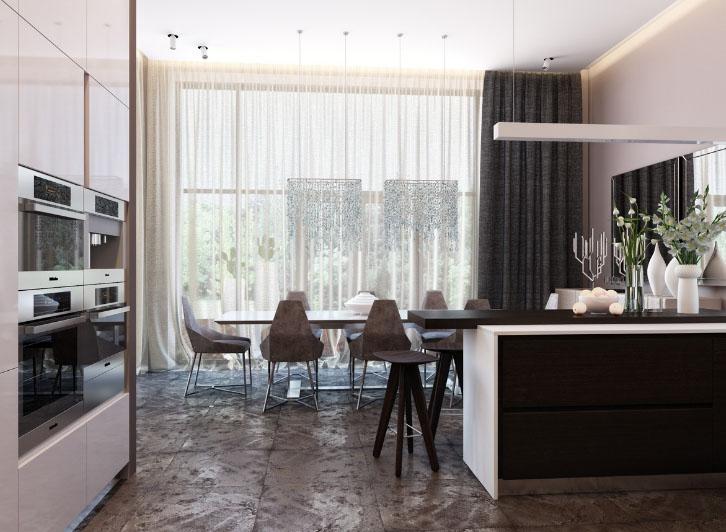 Grande décoration de fenêtre dans une cuisine spacieuse