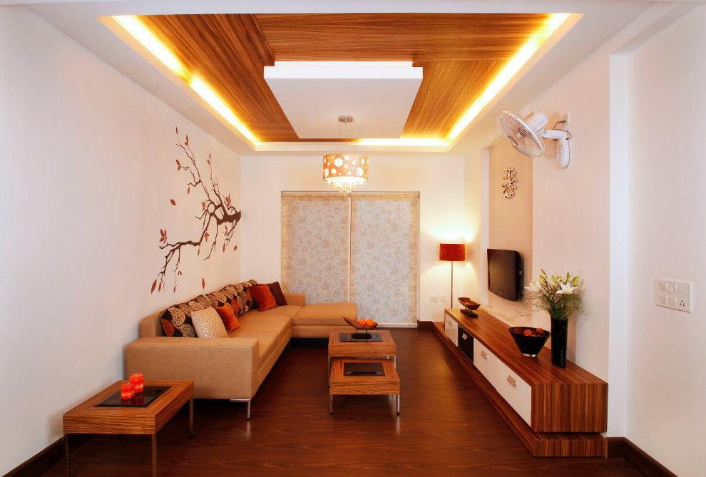 Décoration du plafond du hall avec un design en plaques de plâtre
