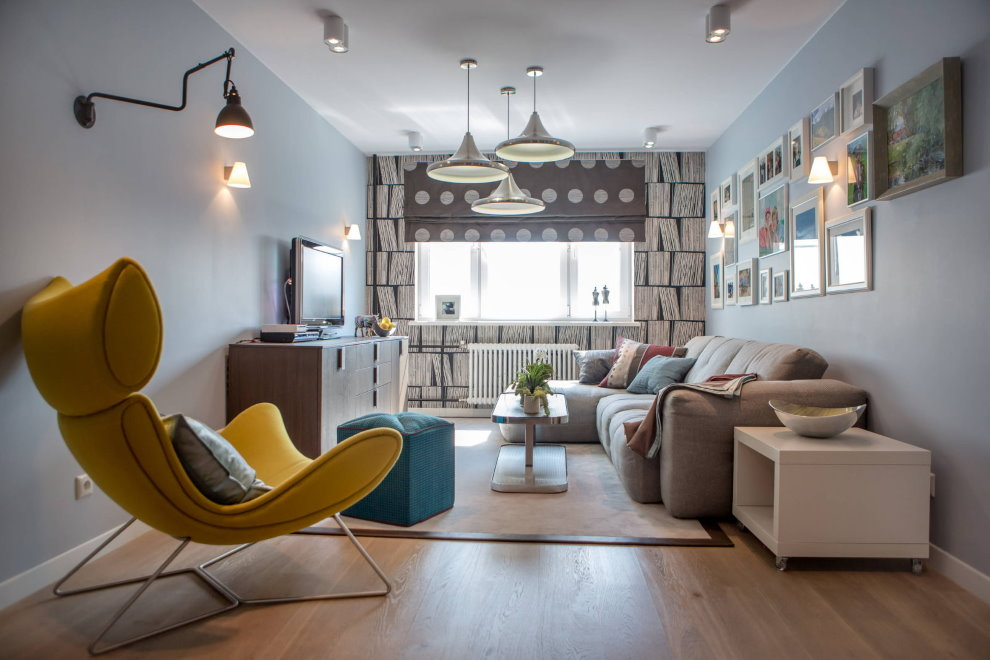 Đèn khác nhau trong nội thất phòng khách hiện đại