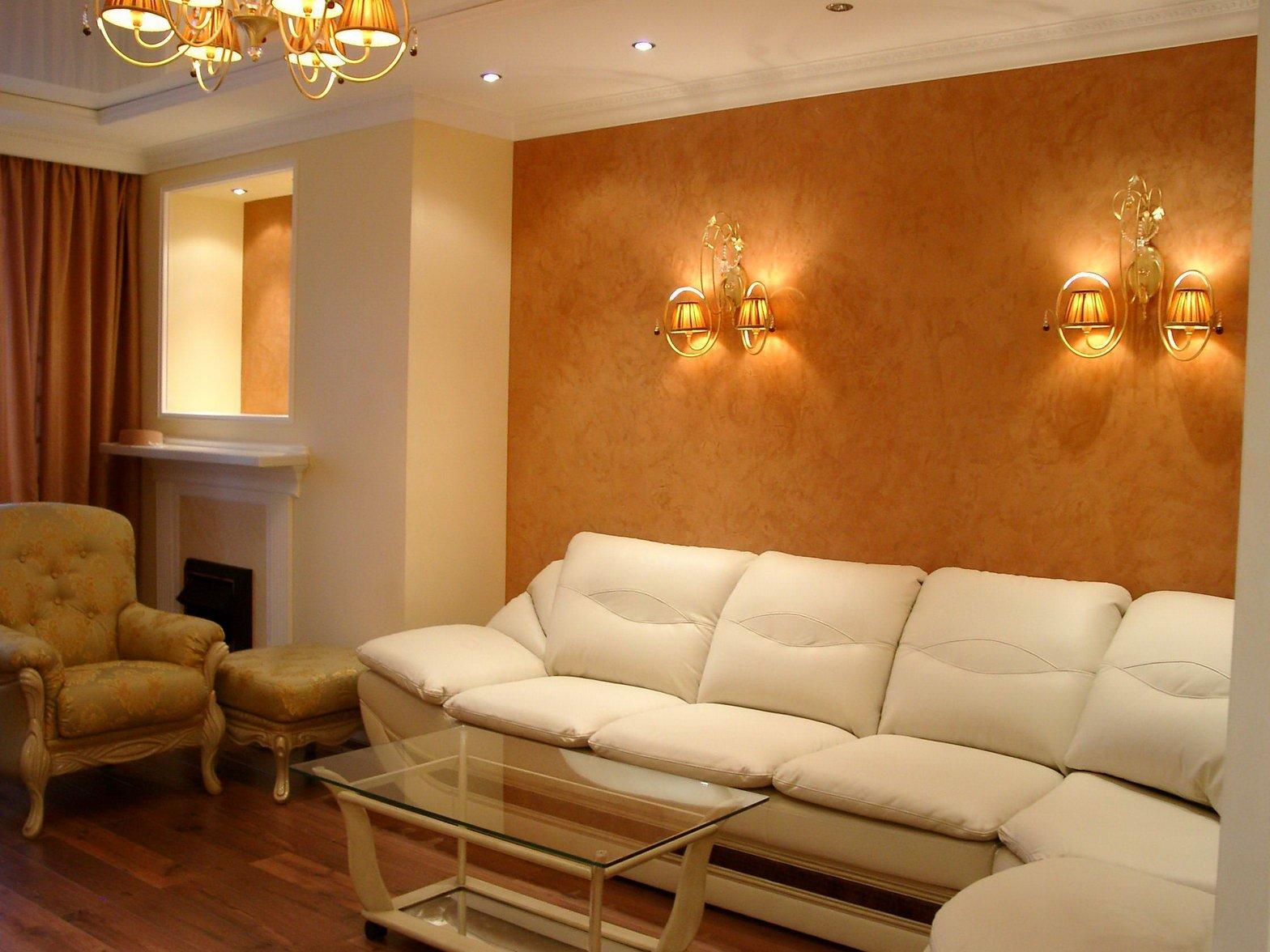plâtre mural en soie dans le salon
