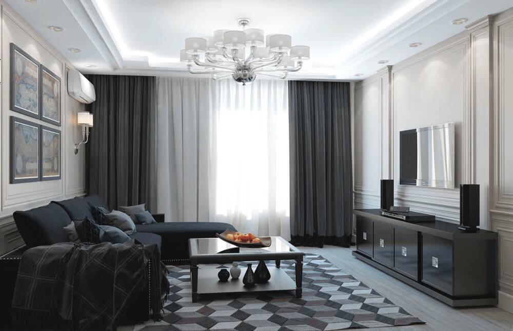 rideaux dans le salon high-tech