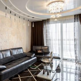 rideaux dans la conception d'idées de salon