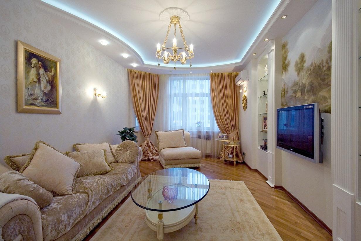 rideaux dans le salon classique
