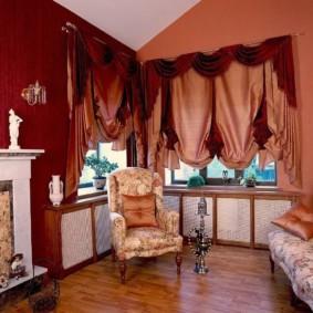 rideaux dans le hall sur deux fenêtres photo décor