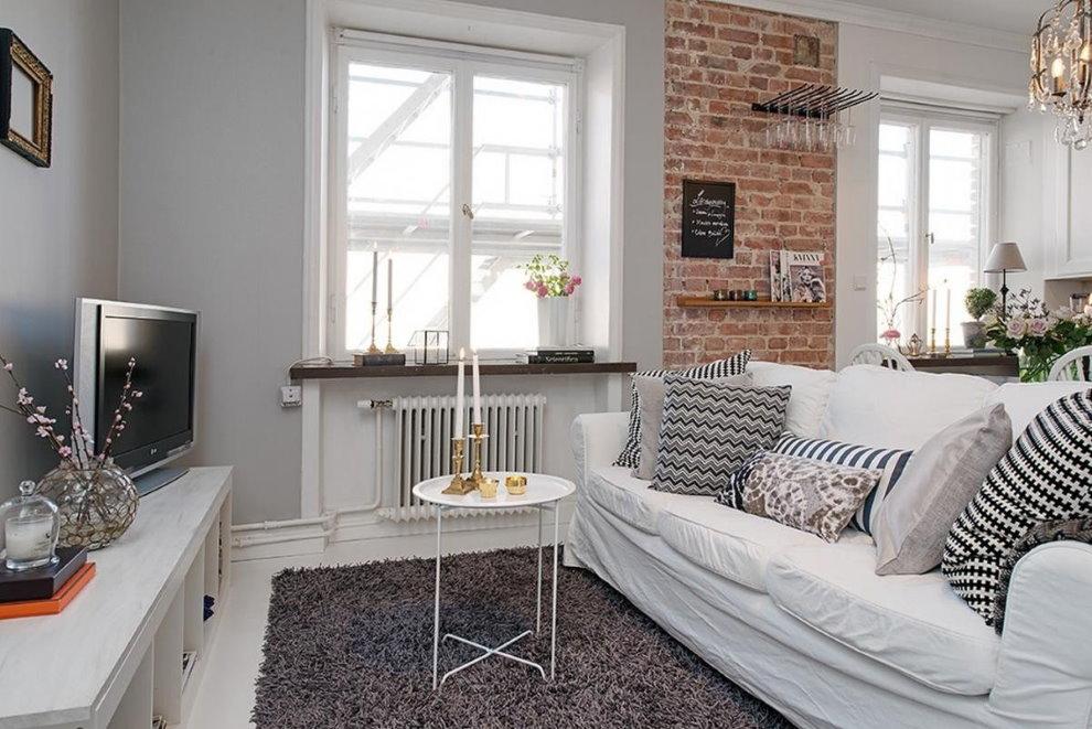Salon de style scandinave de 25 carrés