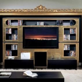 Mur de télévision photo classique