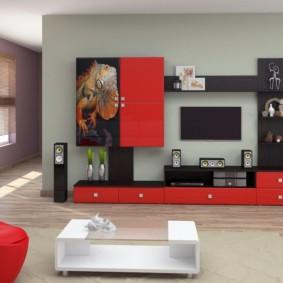 Mur TV dans les options d'idées de salon