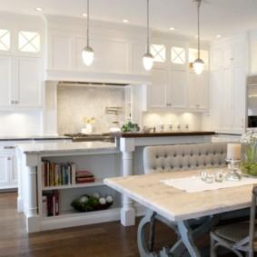 table en pierre artificielle dans le décor de la cuisine
