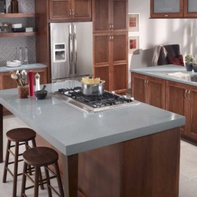 table en pierre artificielle dans les idées d'intérieur de cuisine