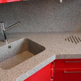 table en pierre artificielle dans la décoration photo de la cuisine