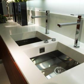 table en pierre artificielle dans la cuisine sortes d'idées