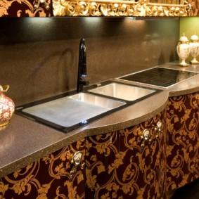 table en pierre artificielle dans les types de cuisine de conception
