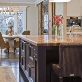 table en pierre artificielle dans la cuisine design photo