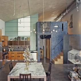 table en pierre artificielle dans la conception de photo de cuisine