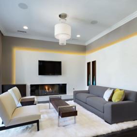 Đèn vàng trên tường phòng khách