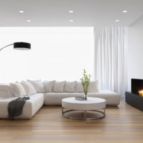 Phòng khách sáng sủa theo phong cách tối giản.