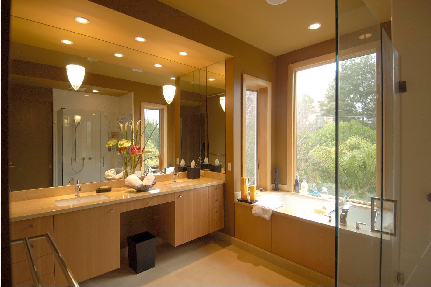 luminaires dans la salle de bain
