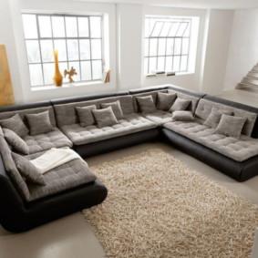 canapé d'angle dans le décor du salon
