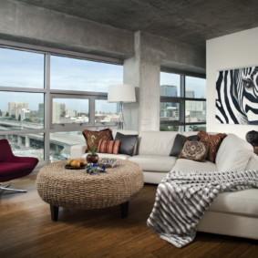canapé d'angle dans le salon vue photo