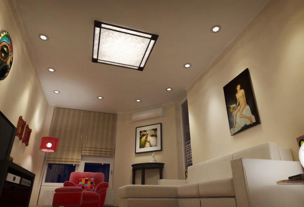 Lampe encastrée au plafond du salon