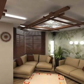 options de design d'intérieur de salle de style oriental