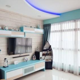 Couleur bleue dans la conception du salon