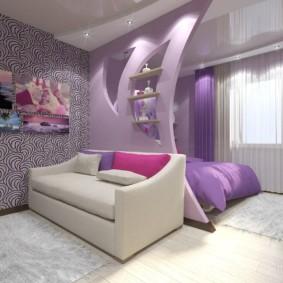 Couleur lilas dans la conception de la salle