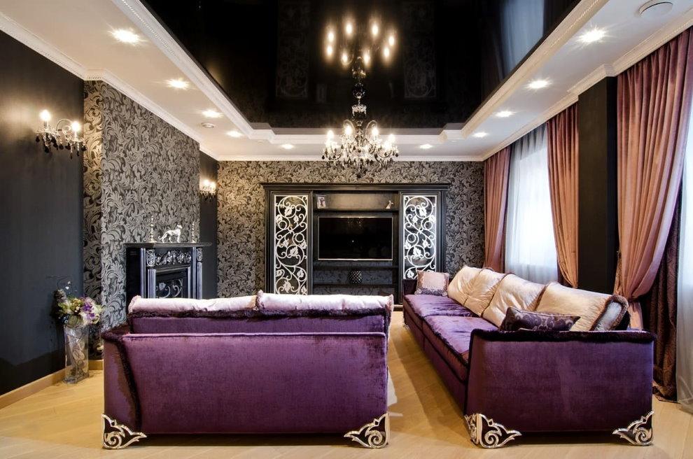 Plafond noir dans une salle de style art déco