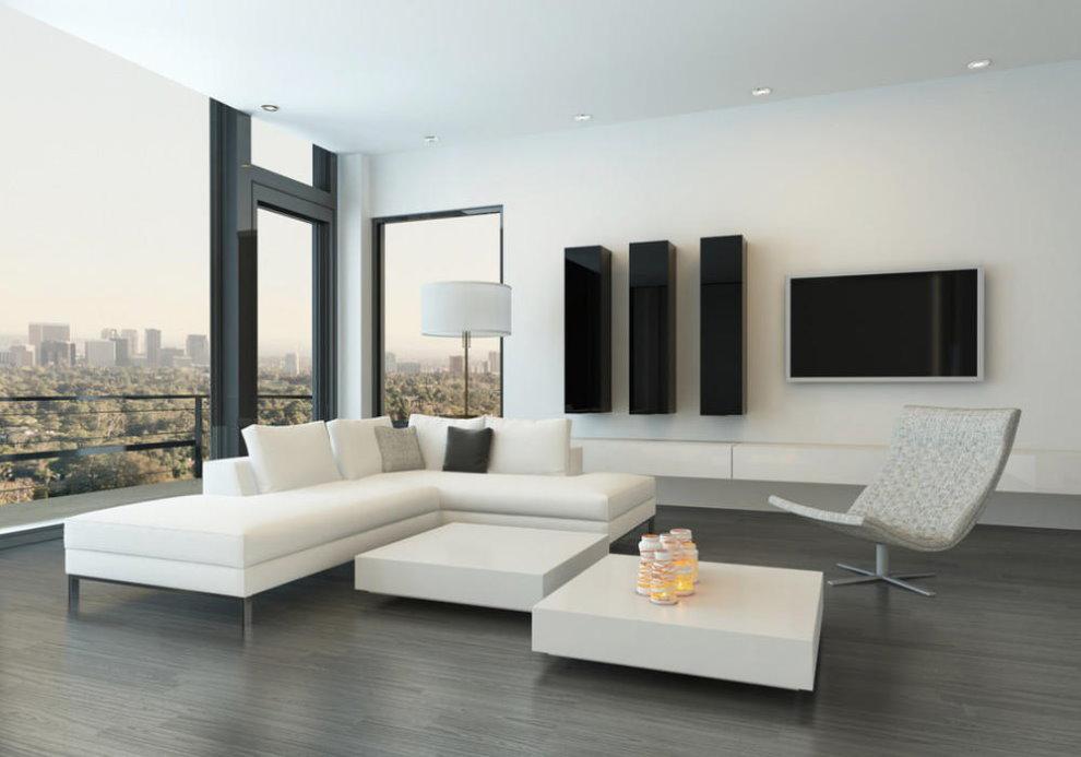 Fenêtre panoramique dans le hall de style high-tech
