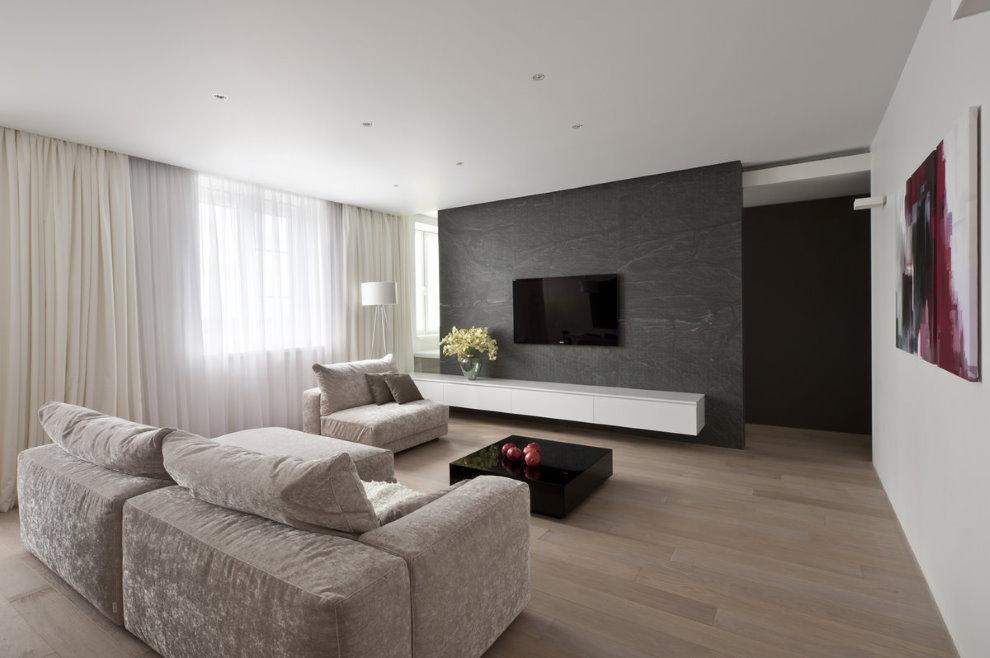 Canapé direct dans le couloir d'un appartement de style minimaliste