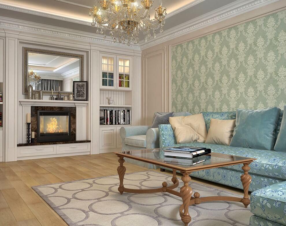 Canapé d'angle dans le salon de style néoclassique