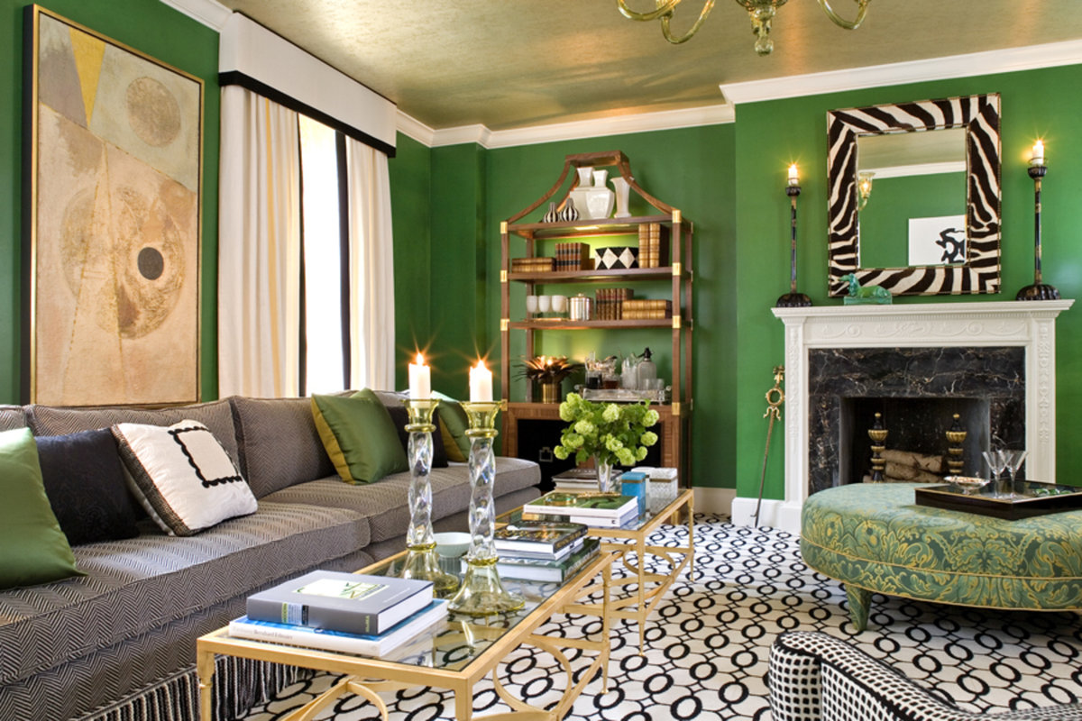 couleur verte dans le salon
